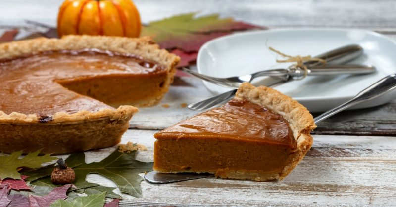 Pumpkin pie at Thanksgiving