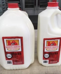 A gallon and a half gallon of whole milk